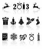 image of bonbon  - Set of black Christmas icons on white background - JPG