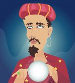 foto of seer  - Men with Crystal Ball Seer fortune - JPG