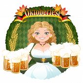 Bavarian Girl Serving Beer -  October Fest