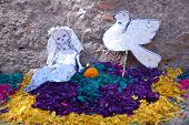 Day of the Dead decorations at cemetery in San Miguel de Allende, Mexico