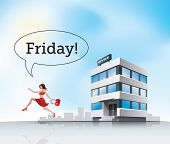picture of friday  - Beautiful woman employee in red dress running from office on friday - JPG