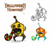 pic of puke  - Halloween monsters spooky creatures set illustration - JPG