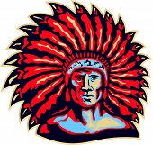 stock photo of indian chief  - Illustration of a native american indian chief viewed from front done in retro style on isolated white background - JPG