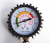 pic of air pressure gauge  - A compressor pressure gauge on a white background - JPG