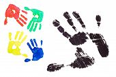 picture of dna fingerprinting  - Detail imprint blue red greenblack and yellow hand on a white background - JPG