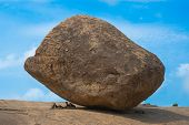 picture of arjuna  - ancient Balancing Ball in Mahabalipuram Tamil Nadu India - JPG