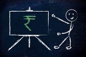 picture of indian currency  - blackboard with teacher or CEO with rupee indian currency symbol - JPG