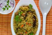 picture of raita  - Vegetable biriyani served with raita - JPG