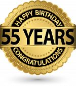 Happy Birthday 55 Years Gold Label, Vector Illustration