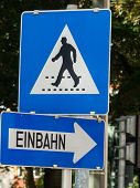 a pedestrian crossing / protection path to cross the street by pedestrians is displayed