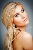 stock photo of beauty pageant  - Beauty shot of blond female model portrait - JPG
