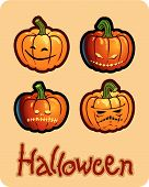 halloween's drawing - four scary pumpkin heads of Jack-O-Lantern