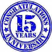 Cogratulations 15 Years Anniversary Grunge Rubber Stamp, Vector Illustration