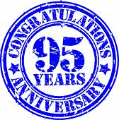 Cogratulations 95 Years Anniversary Grunge Rubber Stamp, Vector Illustration