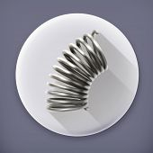 stock photo of amortization  - Elastic metal spring long shadow vector icon - JPG