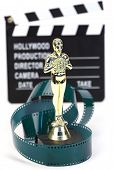 image of clapper board  - fake Oscar award and movie clapper board shallow dof - JPG