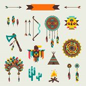 stock photo of wigwams  - Ethnic seamless pattern in native style - JPG