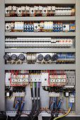 stock photo of fuse-box  - Electrical panel at a assembly line factory - JPG