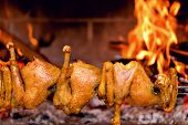 Chicken Roasting On Skewer