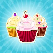 Cupcakes On Blue Background