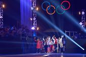 MOSCOW, RUSSIA - FEBRUARY 24, 2014: Russian skaters arrived from Sochi to Luzhniki on the gala conce