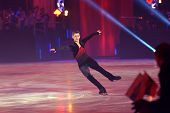 MOSCOW, RUSSIA - FEBRUARY 24, 2014: Maxim Kovtun in action during the gala concert of Olympic champi
