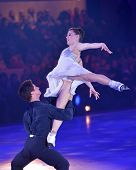MOSCOW, RUSSIA - FEBRUARY 24, 2014: Tessa Virtue and Scott Moir in action during Gala concert of Oly