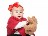 stock photo of baby doll  - Asia baby girl with doll - JPG