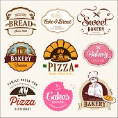 stock photo of donut  - Collection of  BAKERY, CAKES and PIZZA  badges and labels.