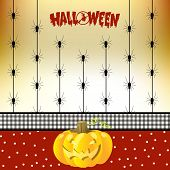 Halloween Greeting Card With Spiders