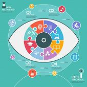 Puzzle in the form of an abstract human eye surrounded infographic education. Education concept with