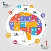Puzzle in the form of abstract human brain surrounded infographic social network. Social network concept with icons and text
