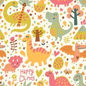 Funny dinosaurs in cartoon vector seamless pattern. Seamless pattern can be used for wallpapers, pattern fills, web page backgrounds,surface textures. Gorgeous childish seamless background
