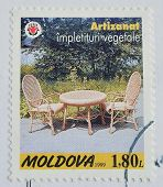 Moldova Postage Stamp Shows Rattan Chair