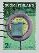 Finland Postage Stamp Shows The Tire Mailbox With Bird