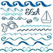 Set of hand drawn sea design elements