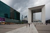 La Defense Business District In Paris Before Storm,