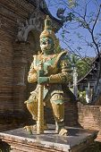 The Guard In Front Of A Temple In Chiang Mai