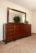 Cherry Wooden Dresser With A Mirror