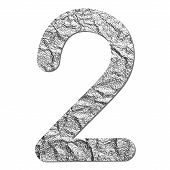 Font Aluminum Foil Texture Numeric 2