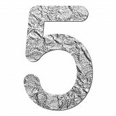 Font Aluminum Foil Texture Numeric 5