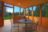 picture of screen-porch  - Covered screen porch with dining table - JPG