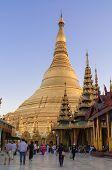 Yangon, Myanmar - February 19, 2014:  Shwedagon Pagoda