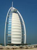 Private beach in the front of the Burj Al Arab hotel in Dubai