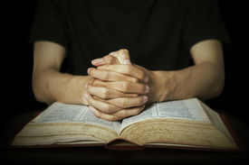stock photo of divine  - Closeup of hands in praying position with a bible - JPG