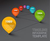 Fresh Vector Infographic Timeline Template with retro pointers - dark version