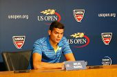 Professional tennis player Milos Raonic during press conference at Billie Jean King National Tennis