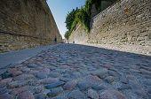 A cobblestone street in Tallinn, Estonia