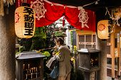 OSAKA, JAPAN - APRIL 18th  :The lanterns  in Hozenji temple, Osaka, Japan on 18th April 2014.