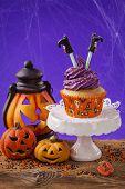 Halloween cupcake and pumpkin decoration